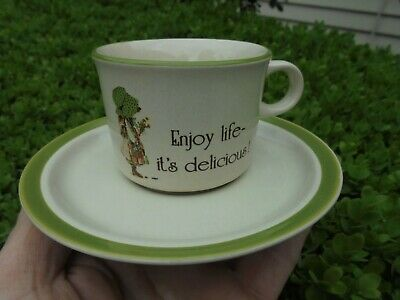 Vintage Holly Hobbie Country Living Green Bonnet Cup And Saucer Like New