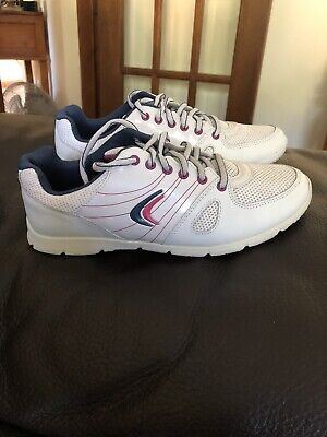 Girls Clarks Prance Twirl BL White Leather/Patent Trainers Size 3.5F NEW