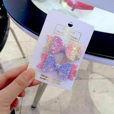 2PCS × Women Girl Sparkly Glitter Hairpin Bowknot Barrette Crystal Hair Clip Bow