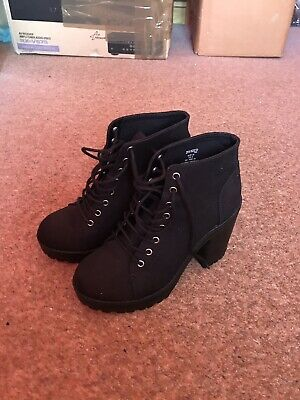 Black Heeled Lace Boot Chelsea Going Out Comfy Shoe High Heel Size 39