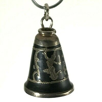 Bell Dancer Sterling Silver Charm SIAM NIELLO Black Enamel with Clapper Vintage