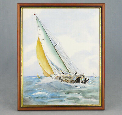 "Original Hand Painted Ceramic Tile Painting Sailing Yacht Framed 10.5"" X 8.5"""