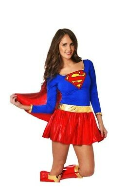 Halloween Adult Women Supergirl Superhero Costume Fancy Dress Comic Party Outfit