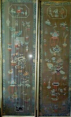 """Fabulous 65"""" Pair Antique Chinese Embroidery Panels Scholars Objects Qing Silk"""