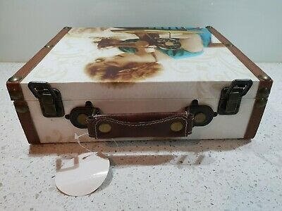 Retro Wooden Sewing Box With Sewing Lady Print.