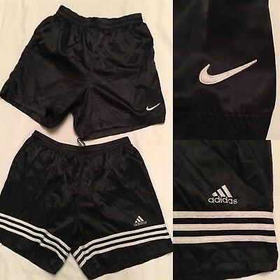 Nike & Adidas Men's Size M Black Shine Stain Soccer Vintage Shorts Lot Of 2