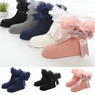 Baby Princess Bowknot Infant Kids Girls Socks Sock Ankle Frilly Trim Lace Ruffle
