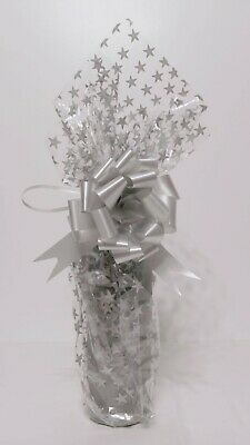 Wine Champagne Bottle Christmas Cellophane Gift Wrapping Kit Silver Stars