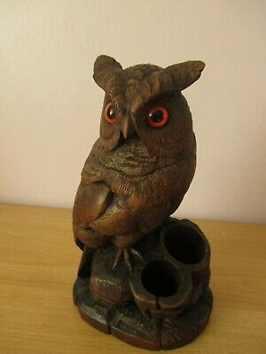 Antique Black Forest Owl Tobacco Jar Wood Carving Swiss