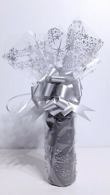 Wine Champagne Bottle Christmas Cellophane Gift Wrapping Kit Silver Wave Pattern