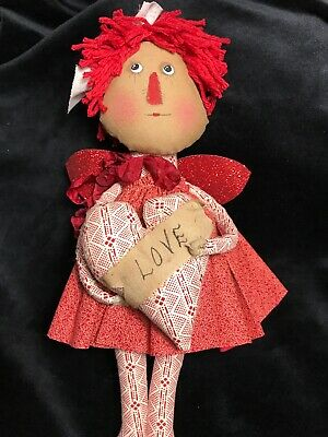 """Primitive Folk Art Raggedy Annie~An 11"""" Standing Doll In Christmas Red"""