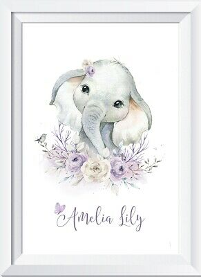 Personalised baby girl elephant print picture gift christening nursery walldecor