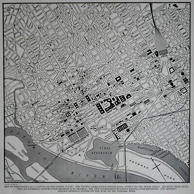 L@@K! Vintage 1942 World Atlas City Map Washington DC World War WWII US Capitol