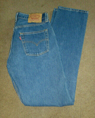 Vintage Levi 501 Blue Jeans, Made In the USA, 80's Red Tab W29 L32, vgc