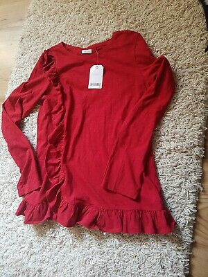 Next Girls red  blouse  frilly top age 11  New with tags