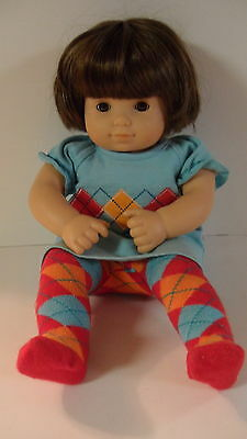 American Girl Tagged Bitty Baby Twin Doll 2011 Plaid Play Outfit Beret Leggings