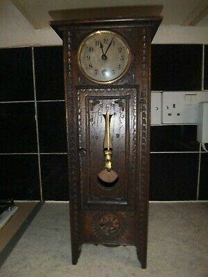 Antique German Wooden Mantel Small Grandfather Clock Jungans with Pendulum