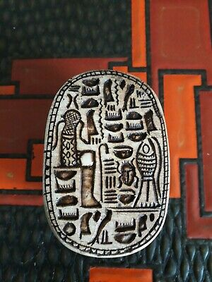 Large Egyptian Carved Stone One Piece Scarab Beetle vintage fortune symbol