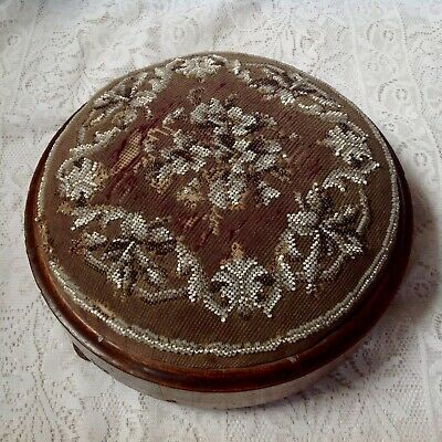 Antique Victorian Mahogany Framed Hand Beaded Footstool Set On Three Bun Feet.