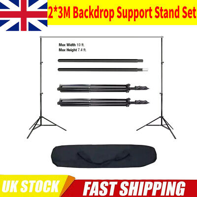 Photo Studio Background Support Stand Kit Black Screen Backdrop Set 2 x 3m