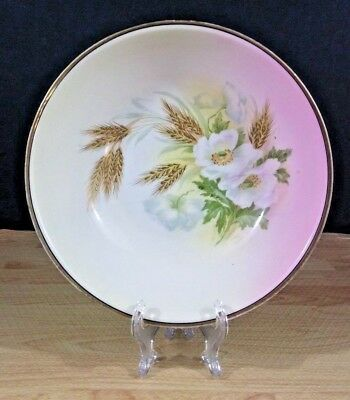 Three Crown China Serving Bowl Hand Painted Ceramic Floral Wheat Vintage Germany