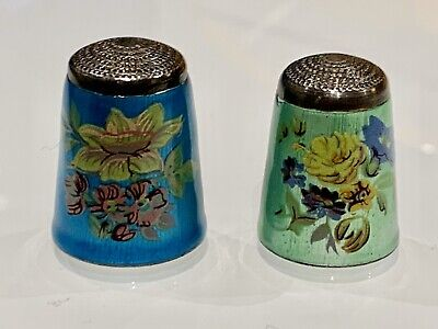 Vintage Sterling Silver And Enamel Thimbles (two)