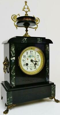 Antique French 8 Day Slate, Green Marble & Bronze Bell Striking Mantel Clock