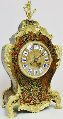 Antique French 8 Day Red Shell & Bronze Ormolu Striking Boulle Mantel Clock