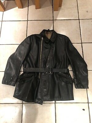 Blume  German ?Leather Motorcycle Dispatch Rider Jacket 46 Black
