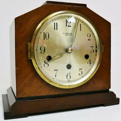 Antique English Mahogany Art Deco Westminster Chime Musical 8 Day Mantel Clock