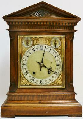 Antique German W & H Carved Oak Architectural 8 Day Gong Striking Bracket Clock