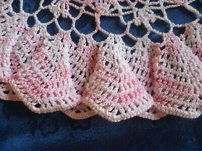 VINTAGE HAND CROCHETED VARIGATED PINK  ROUND DOILEY FRILLED EDGE 33 cms across
