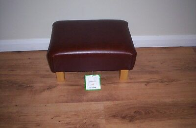 """""""Stunning"""" Real Leather Footstool,Mahogany Brown,sheen,Grained With Chunky Legs"""