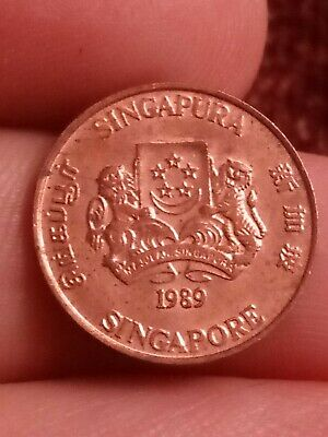 1989 Singapore 1 cent KM# one cent Singapura coin 191019