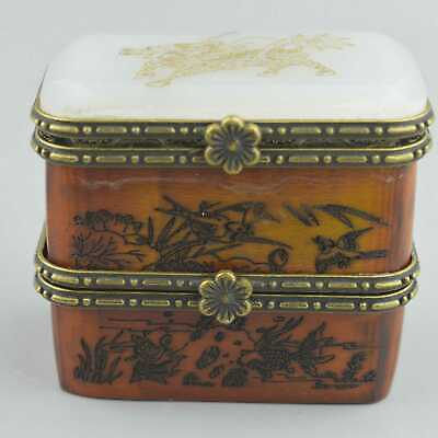 China Collectable Handwork Agate Carve Kylin Old Flower Bird Tibet Jewelry Box