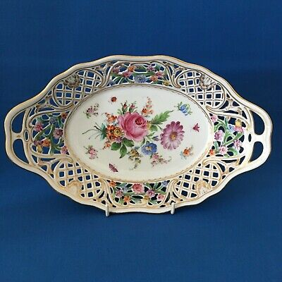 Beautiful Antique Dresden Reticulated Porcelain Hand Painted Basket circa 1920
