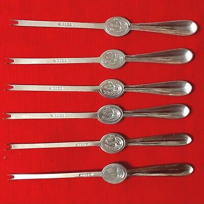 Good Quality Set Of Six 6 Lobster Picks Silver Plate By John Round & Son c. 1880