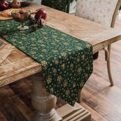 Christmas Tree Green Cotton Linen Table Runner For Festival Home Decoration ONE