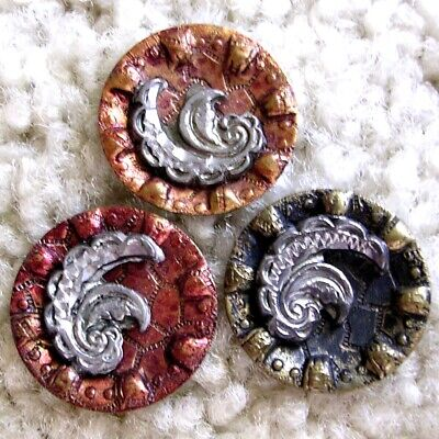 Trio of antique metal buttons, feather, 3 colors red orange black 3/4""