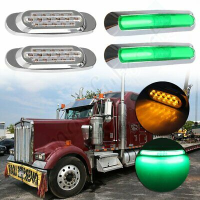 2x chrome sealed yellow lights + 2x green bright lamps for 12v vehicle Peterbilt