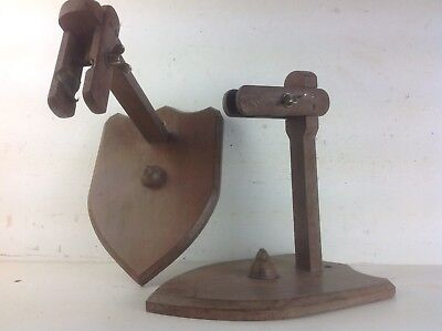 Pair mahogany wood Shield wall brackets lighting sconces old