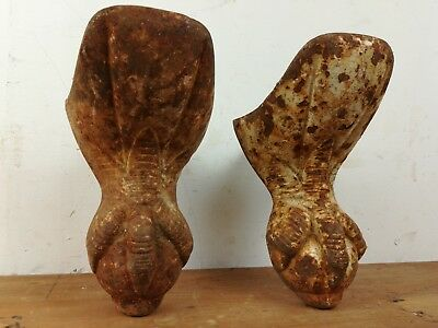 2 Antique claw ball cast iron roll top Bath feet old reclaimed