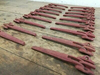 Unusual set of 18 Iron Stair Carpet Runner clips old reclaimed architectural
