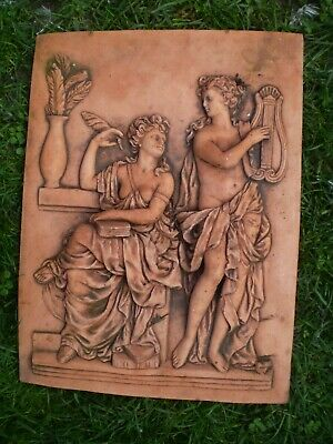 Vintage french Fired Clay Mural Plaque, Architecture, Jardin Reclamation