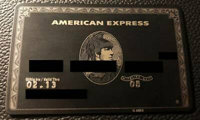 Metal Credit Card AMEX CENTURION BLACK German Type w/o chip Pre-Owned