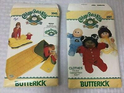VTG 1984 Cabbage Patch Kids Pattern Lot Sleeping Bags With Decals and Clothing