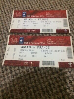 2 X Rugby Union Tickets - Wales V France 2014 — Exc