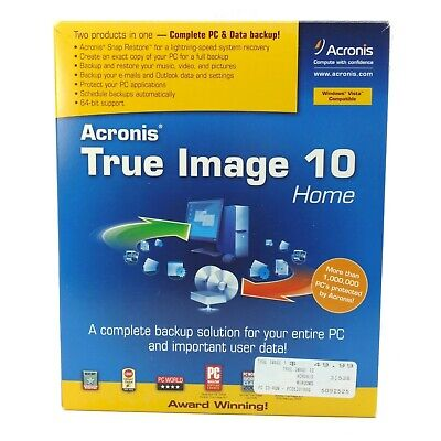 Acronis True Image 10 Home PC Data Backup Recovery Computer Software Windows