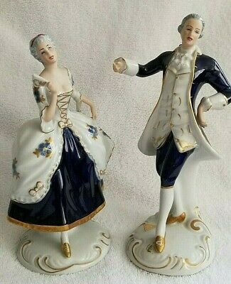 ROYAL DUX Bohemia Pair of Porcelain Figurines Cobalt Blue VICTORIAN COUPLE