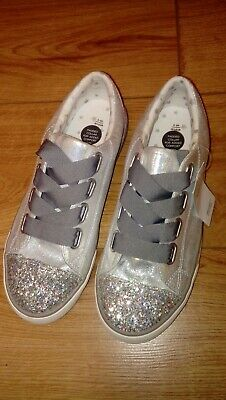 New Christmas Marks & Spencer Girls Silver Glittery Trainers/Pumps Size UK 6